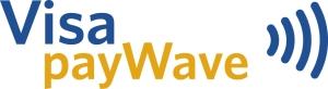 Visa payWave. Symbolet til høgre er det du må sjå etter for å vite om kontaktlaus betaling kan brukast. Vil stå på betalingsterminalar, på kort mm.